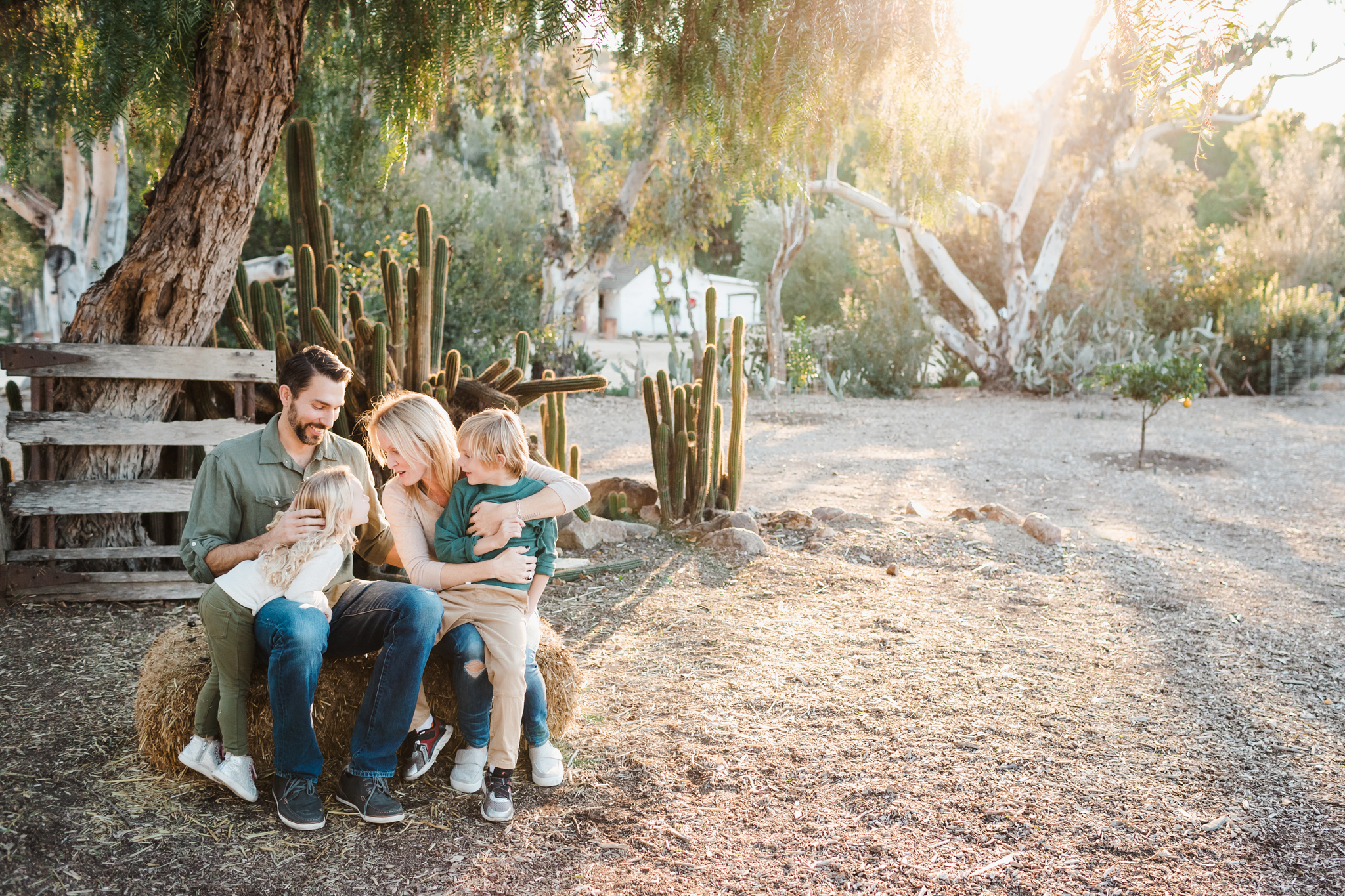 family photos at Leo Carrillo Ranch in Carlsbad in beautiful light.
