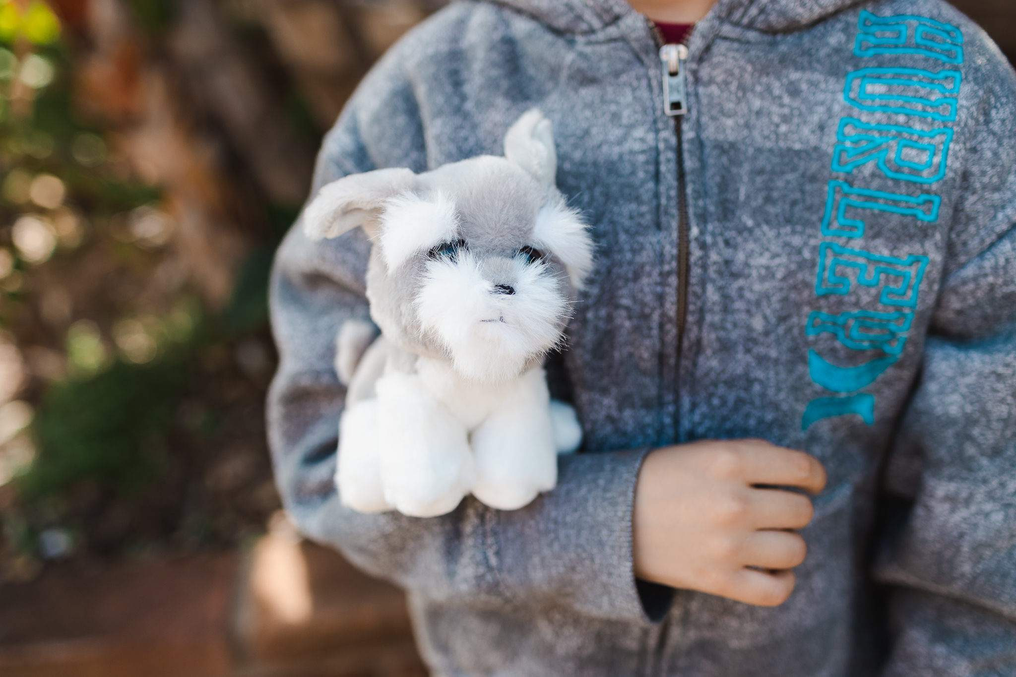 cute dog stuffed animal in a little boy's arms. san diego family photographer sea port village