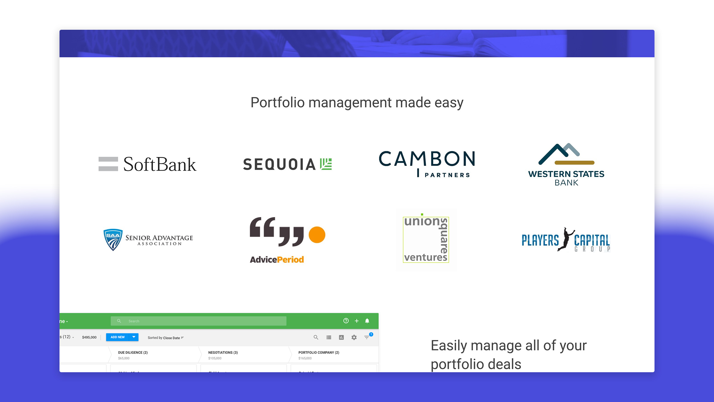 The Financial Services page was tuned towards VC firms.A logo of our most relevant, and well known customers helped to validate our product's utility with strong social proof.