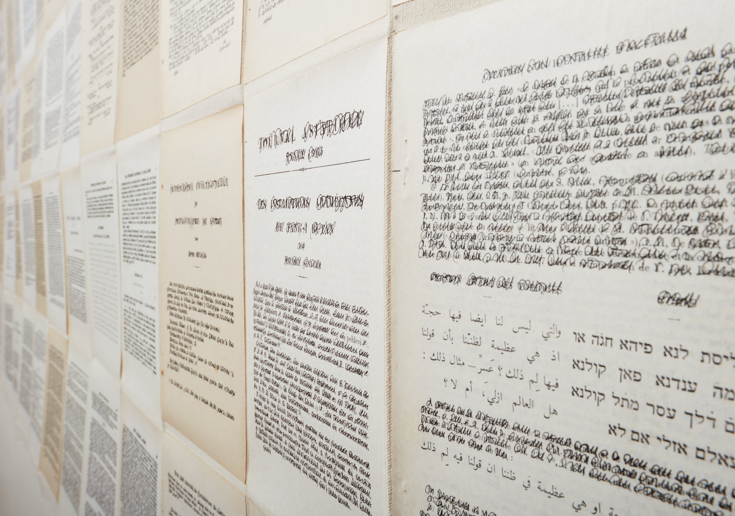 Overwriting 3 (detail). 85 printed pages and ink on coton canvas, 47 x 95in (120 x 242cm)