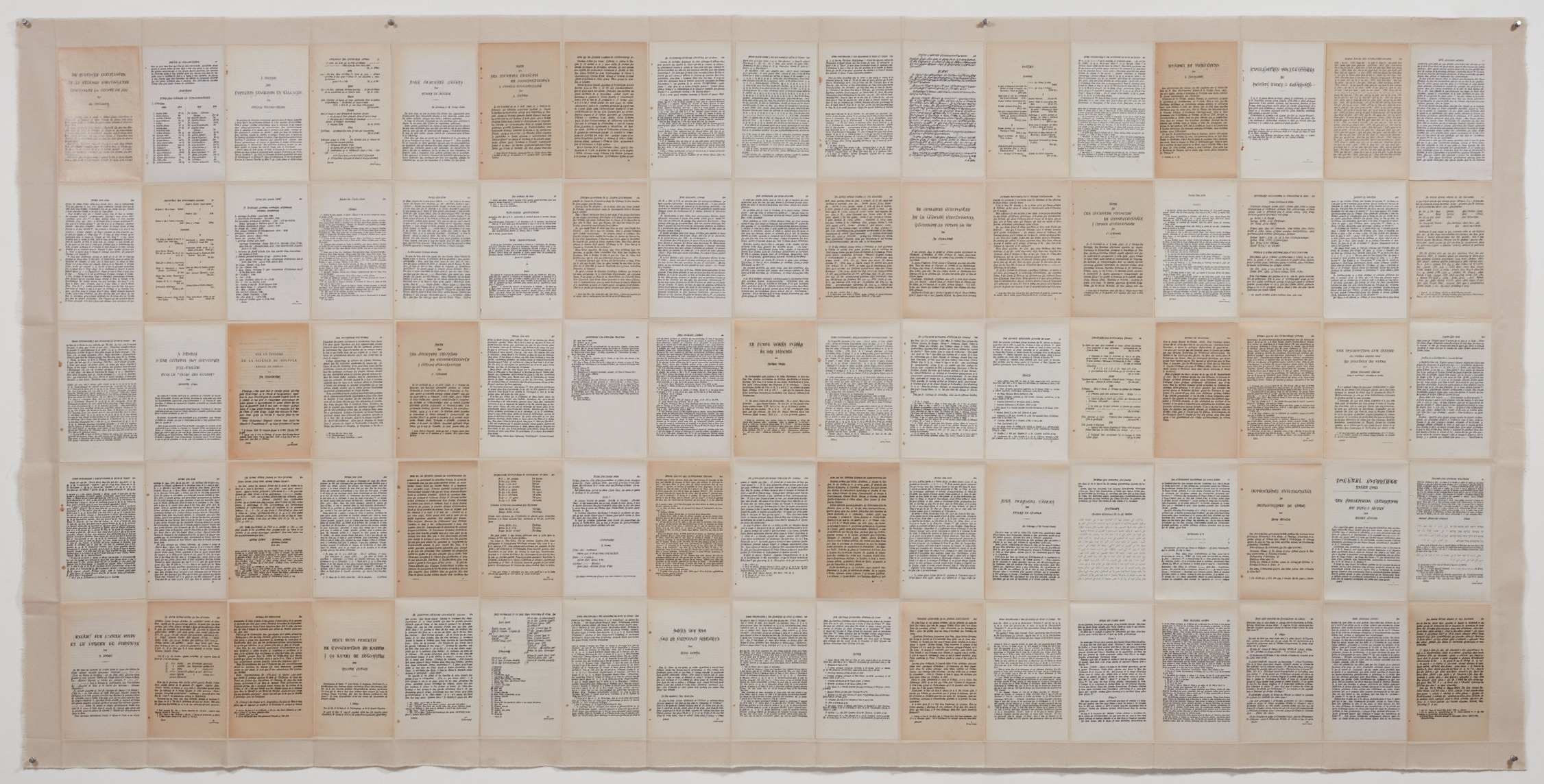 Overwriting 3. 85 printed pages and ink on coton canvas, 47 x 95in (120 x 242cm)