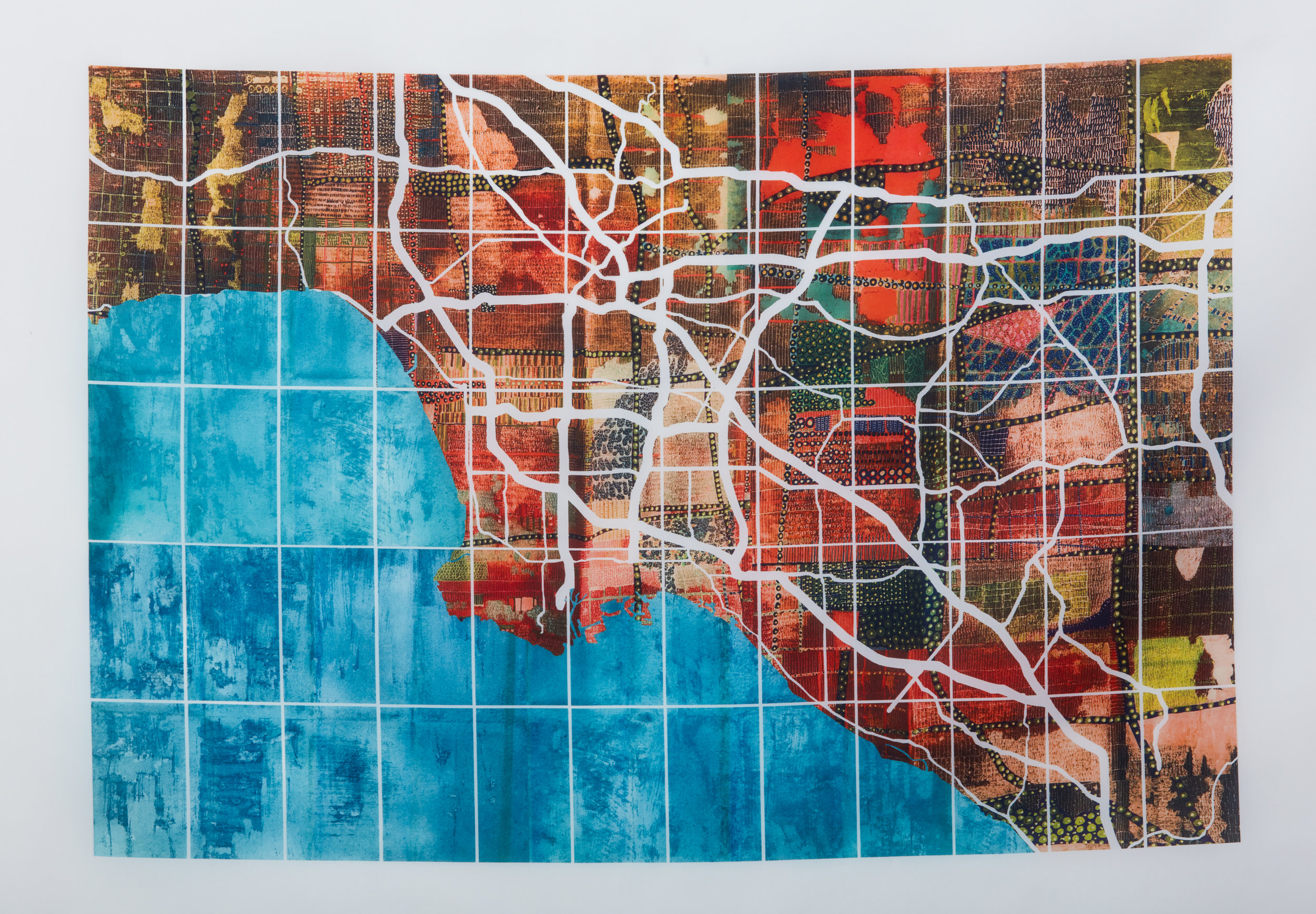 Los Angeles New Hue, 2017. Ink jet on organza silk, 108 x 133cm