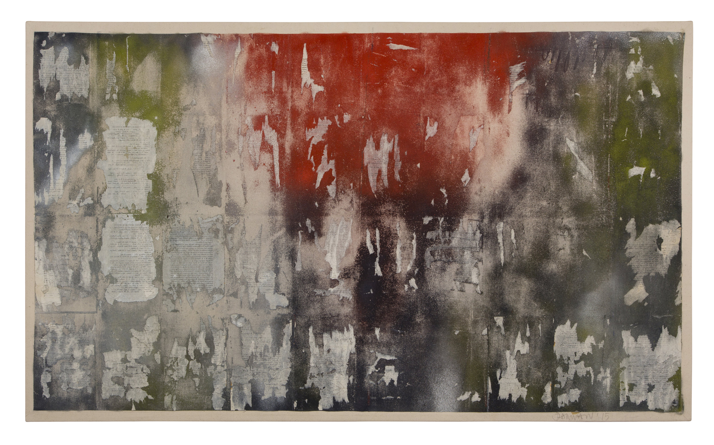 uncharted territory 8, 2015. Printed papers on canvas with acrylic and spray paint, 40.5 x 64.5in (103 x 165cm)