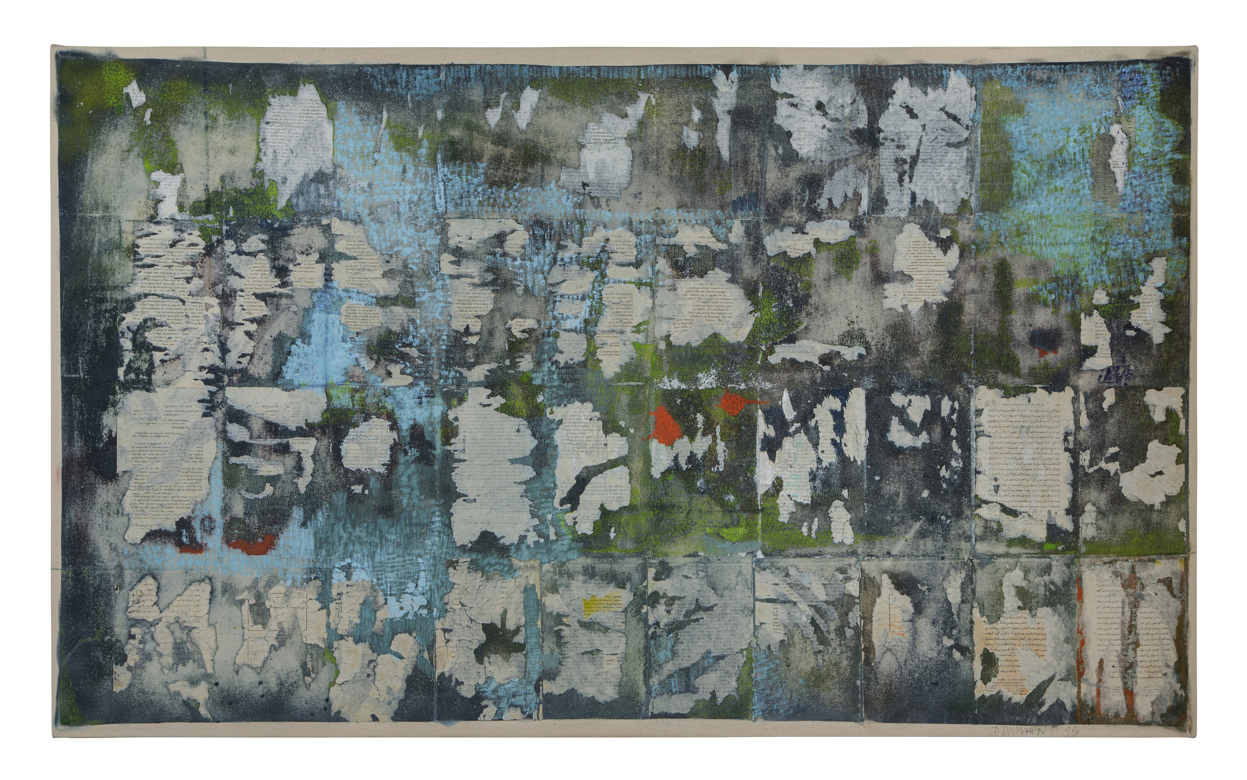 uncharted territory 6, 2015. Printed papers on canvas with acrylic and spray paint, 40.5 x 64.5in (103 x 165cm)