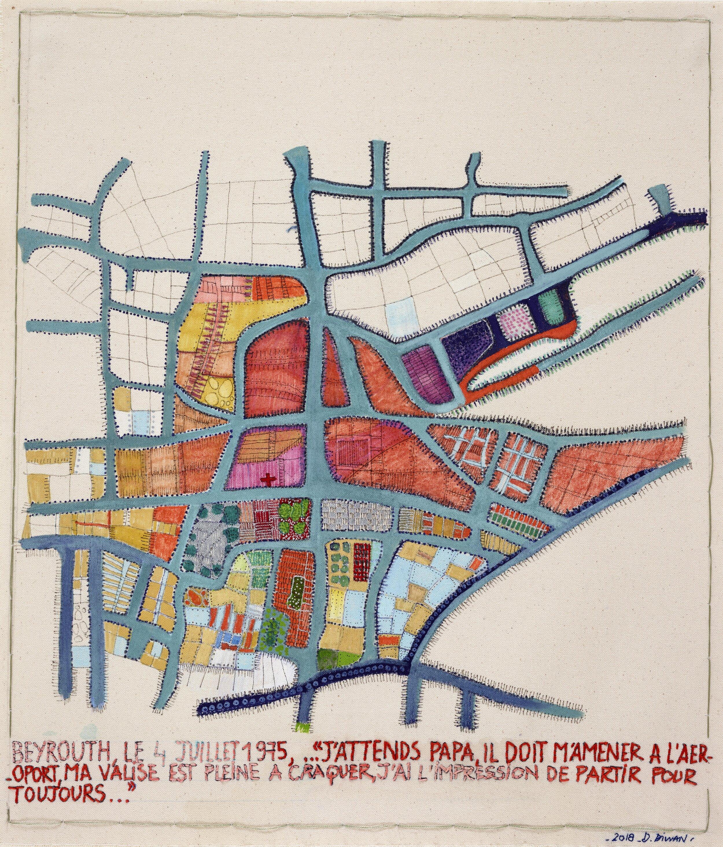 Wandering City 1, Beyrouth le 4 juillet 1975, 2018. Acrylique feutre et broderie sur toile, 46 x 40 cm (18 x 16 in).