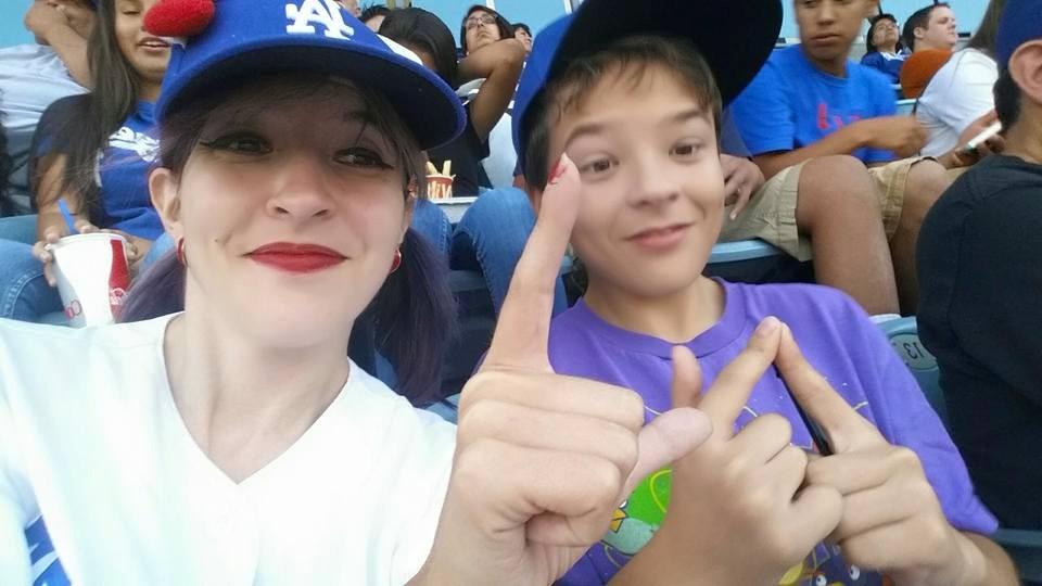 Mother and son representing LA