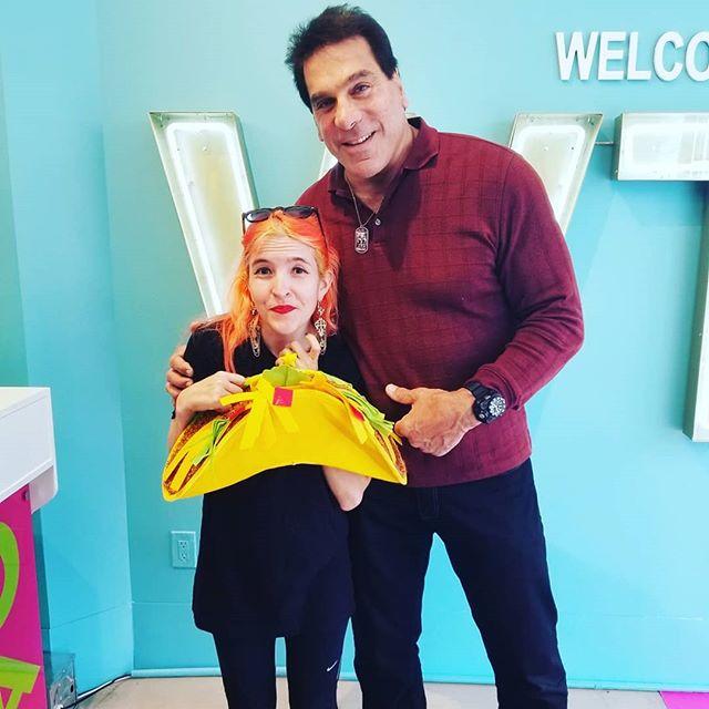 Little girl,  big... not Hulk smash!  @theofficiallouferrigno made this nerd's day when he came in for Father's Day weekend.  #geeklife #nerd #hulk #hulksmash #tacotopia #tacolife #fathersday #mydayinLA #LA #nerdygirl #popupshop #santamonica #comics #legendary #rad