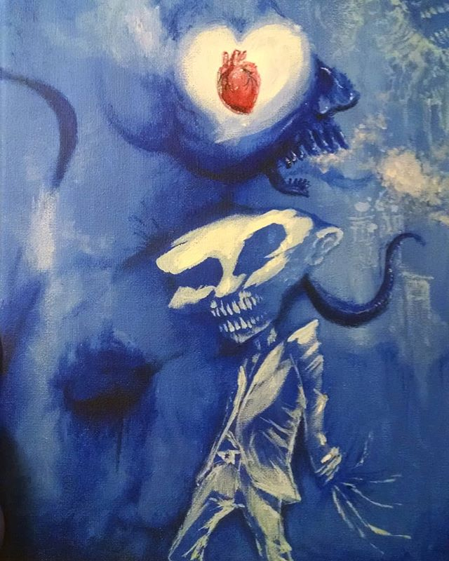 The Love Broker #painting #heart #under #spooky #art #blue #carpaltunnelfundrome