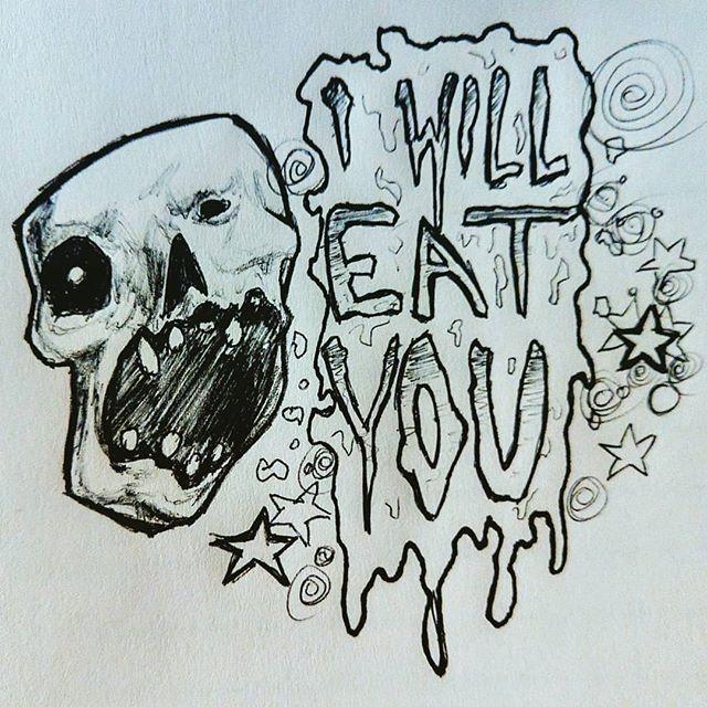 Friendly reminder #cannibal #eat #ink #sketch #skeleton #spooky