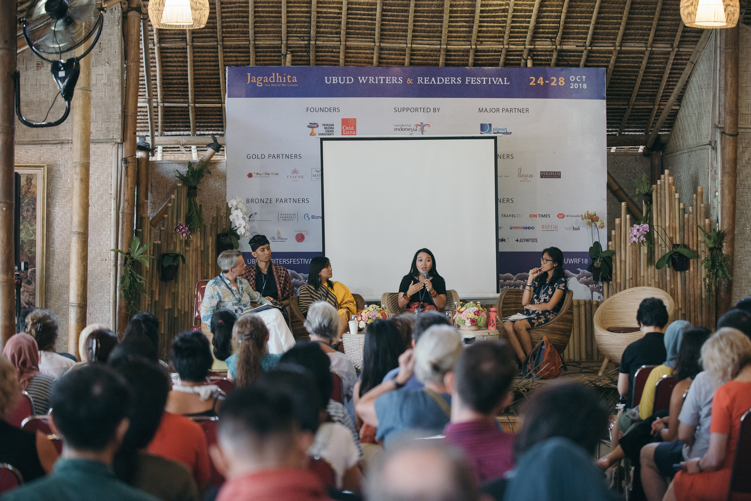 Young Dayak activists speak in international forum. Photograph: Wayan Martino