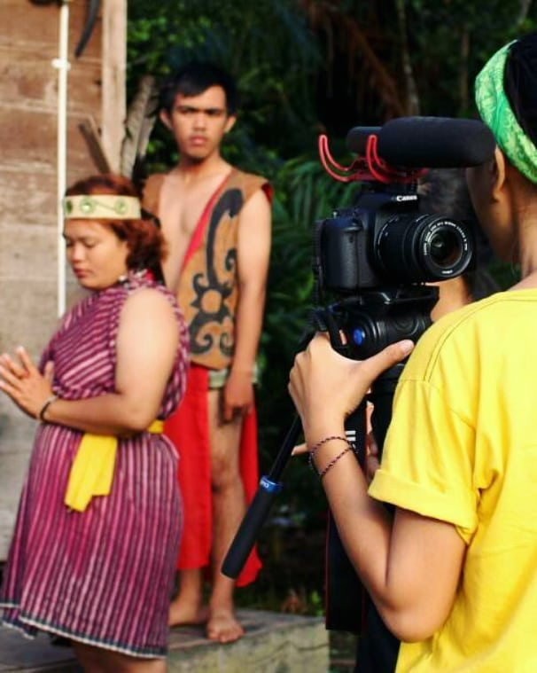Filming a drama based on Dayak stories