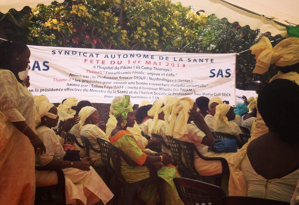 Senegalese public health workers meet on 1 May 2013 to discuss universal health coverage, among other topics.