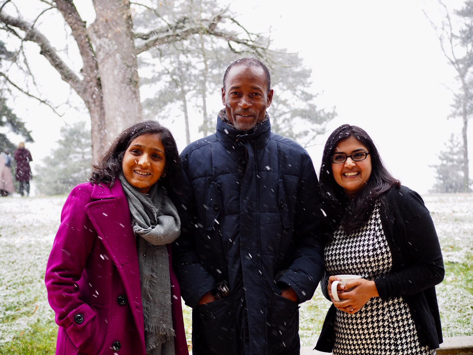 Dr. Francisco Songane with fellow 'Disrupting Global Health Narratives' participants, Dr. Purnima Menon of the International Food Policy Research Institute and Sumegha Asthana, doctoral candidate at Jawaharlal Nehru University.
