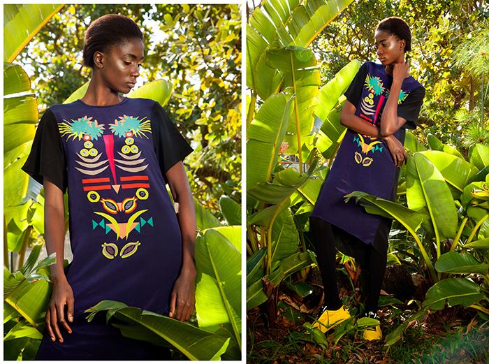 Motunrayo wears Sindiso Khumalo Aluta Paw-Paw dress (R3420) from Merchants on Long, Yellow Puma X McQ Brace Lo (POR) from Puma SELECT