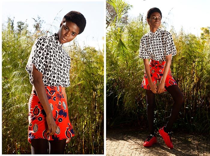 Imade wears Sindiso Khumalo Yoko shirt (R1710) and Sindiso Khumalo Lena shorts (R1710) from Merchants on Long, Red Puma X McQ Brace Lo (POR) from Puma SELECT