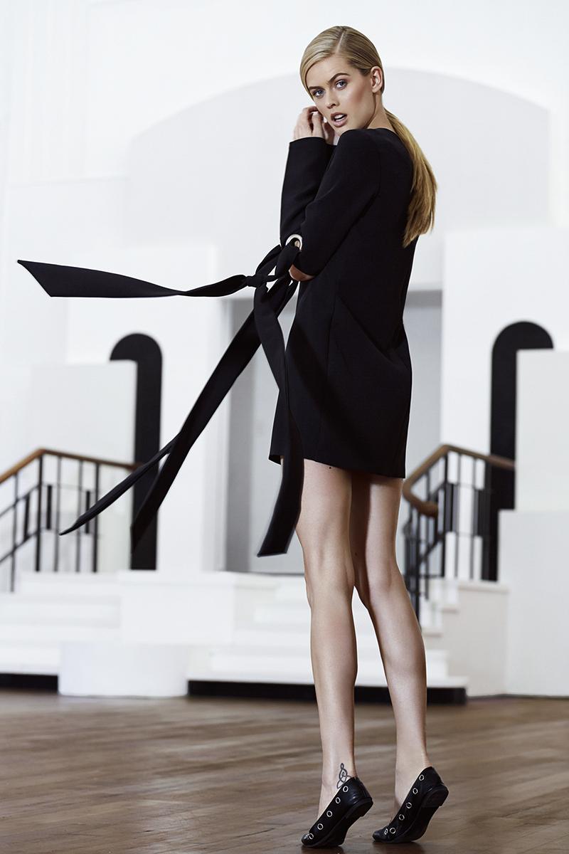 Black mini dress,  Michael Maven ; black shoes (worn throughout), stylist's own