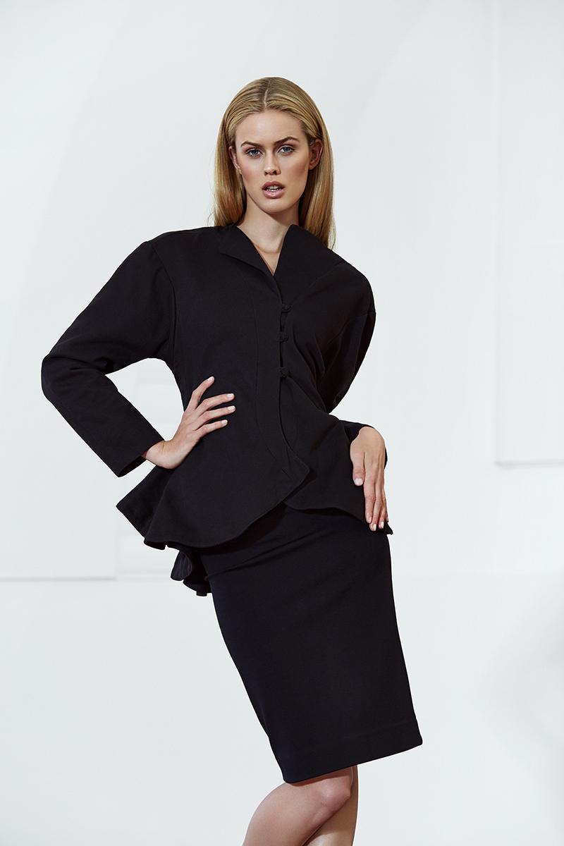Black tailored LARA jacket,  Lara Klawikowski ; black pencil skirt, stylist's own