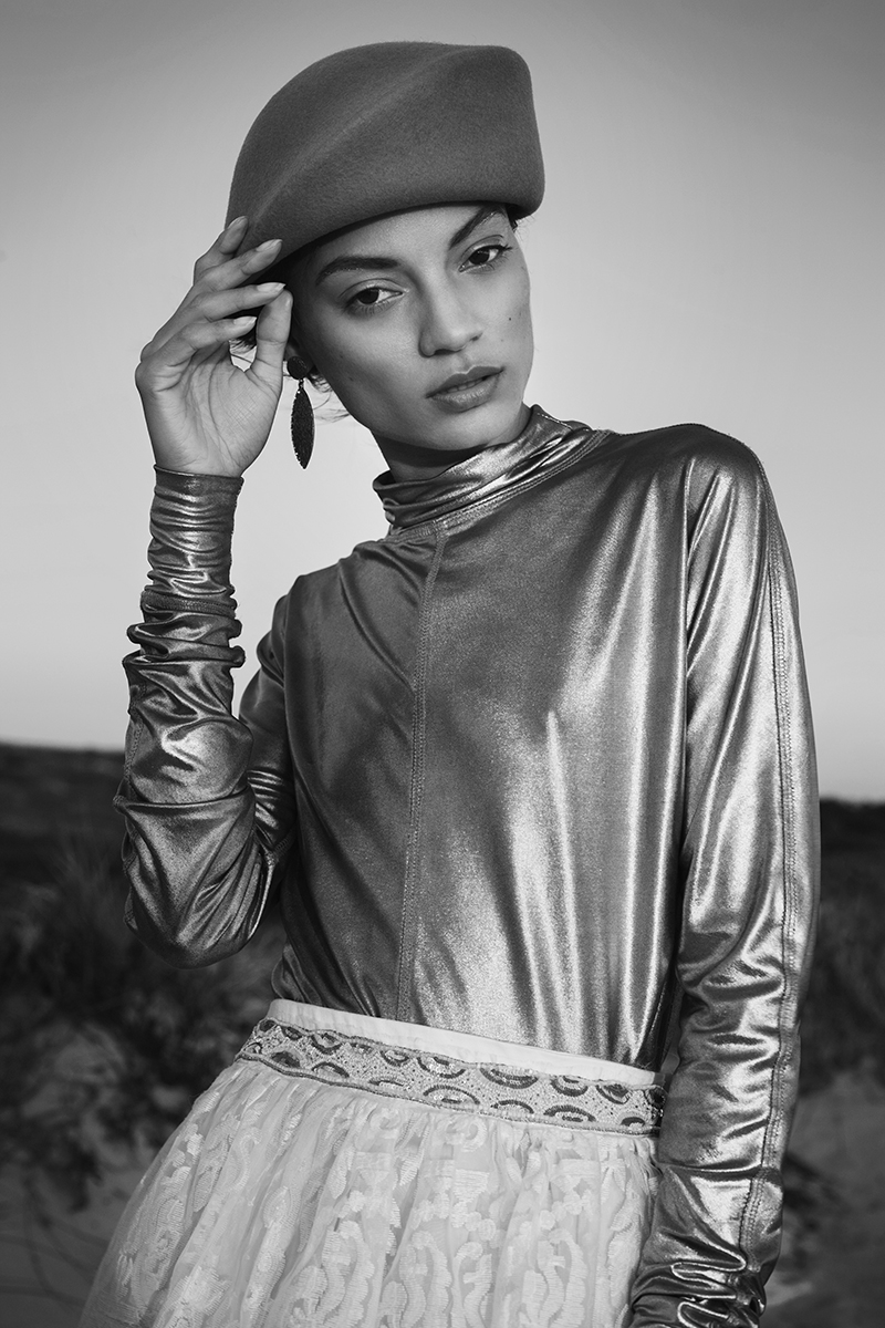 Metallic top, W35T ; white lace skirt with bead detail, Shana Morland ; dusty pink beret, Crystal Birch ; earrings, as before