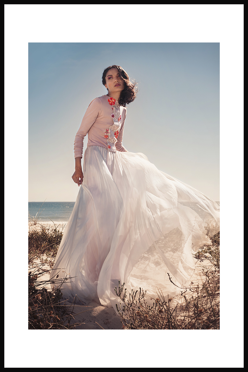 Blush cropped top with embroidery detail and silver chiffon skirt, both  Shana Morland