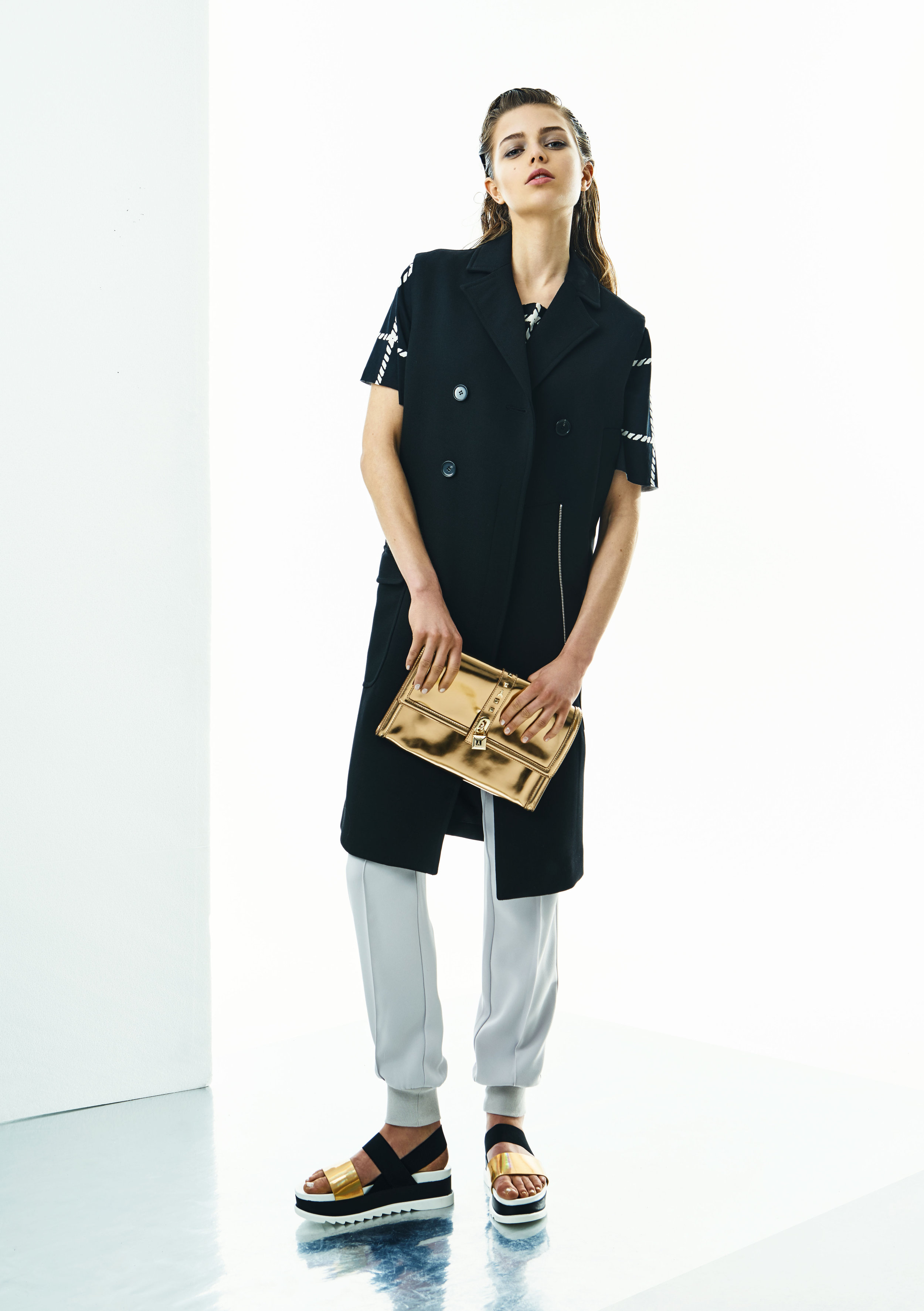 Top and trousers, Steffen Schraut;vest, Wood Wood;bag,Patrizia Pepe; shoes, Daisy Street