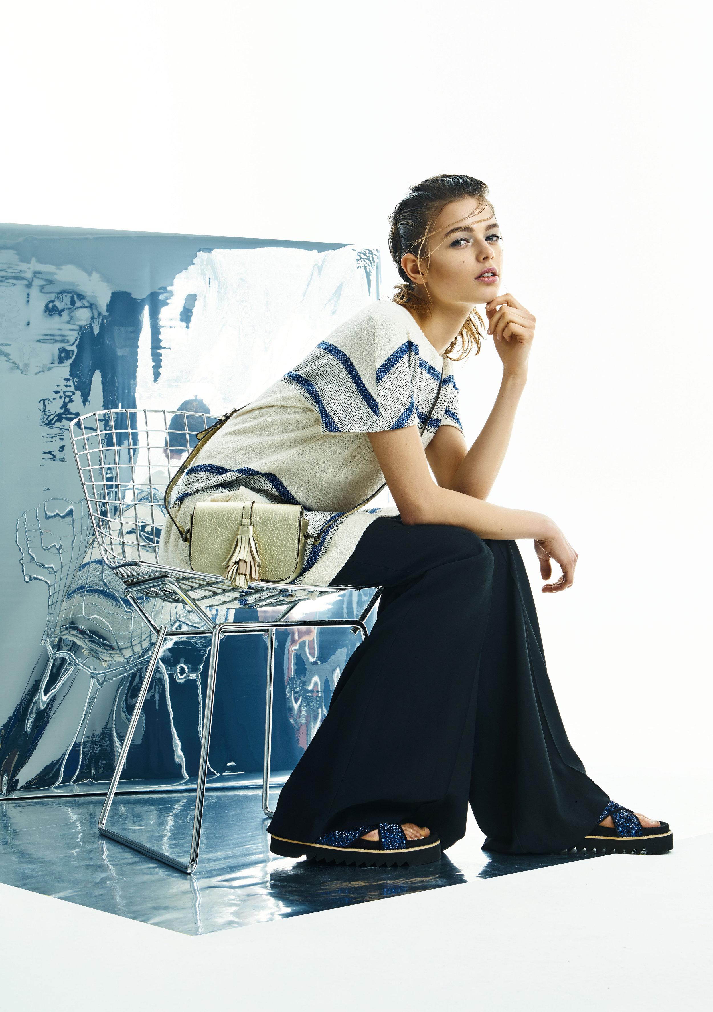 Dress, Closed; trousers, Patrizia Pepe; bag,Steffen Schraut; shoes, Privada