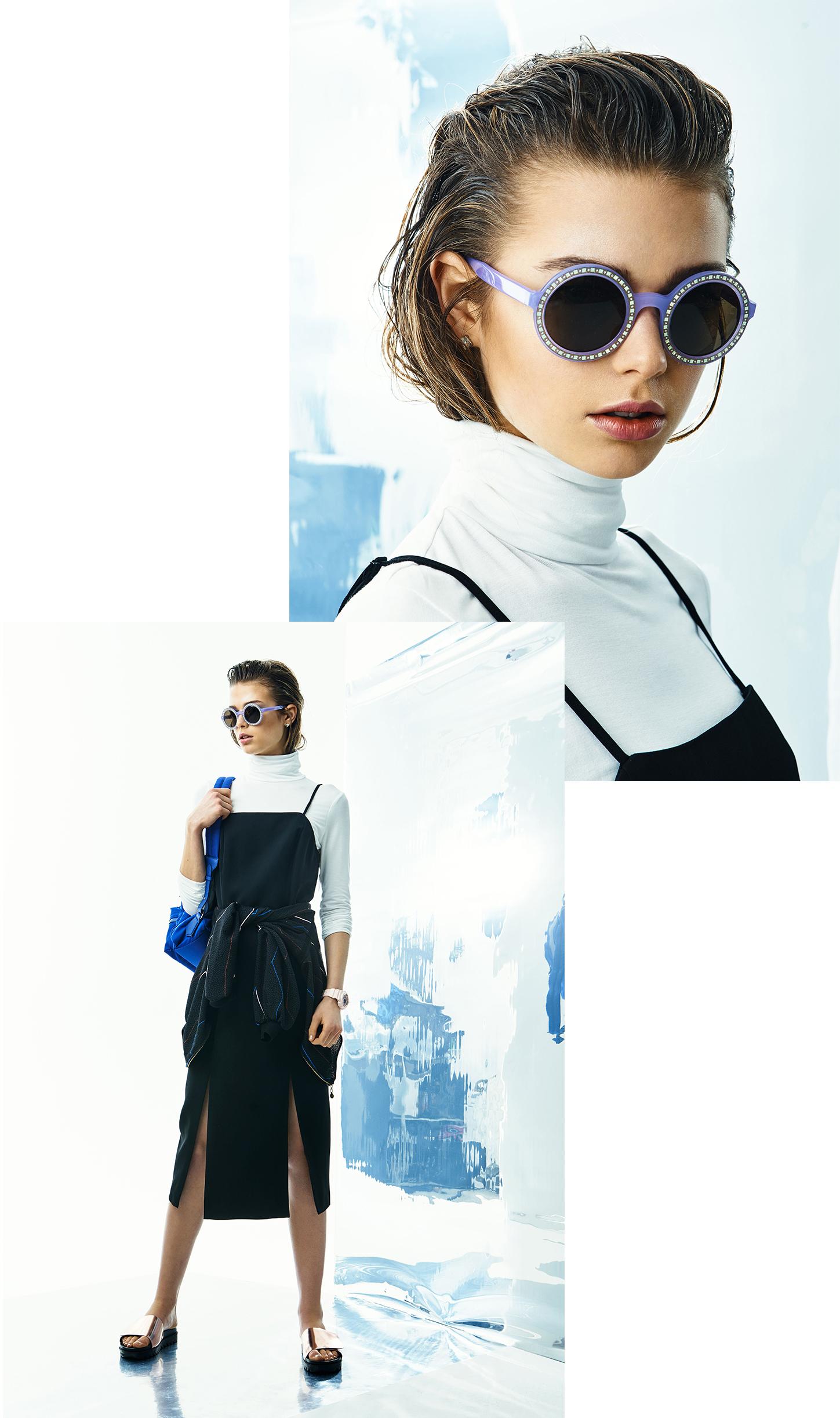 Polo neck, Splendid;dress,C/MEO Collective; jacket, Stine Goya;backpack, Patrizia Pepe;sunglasses,Andy Wolf;earrings, Yael; shoes, Privada