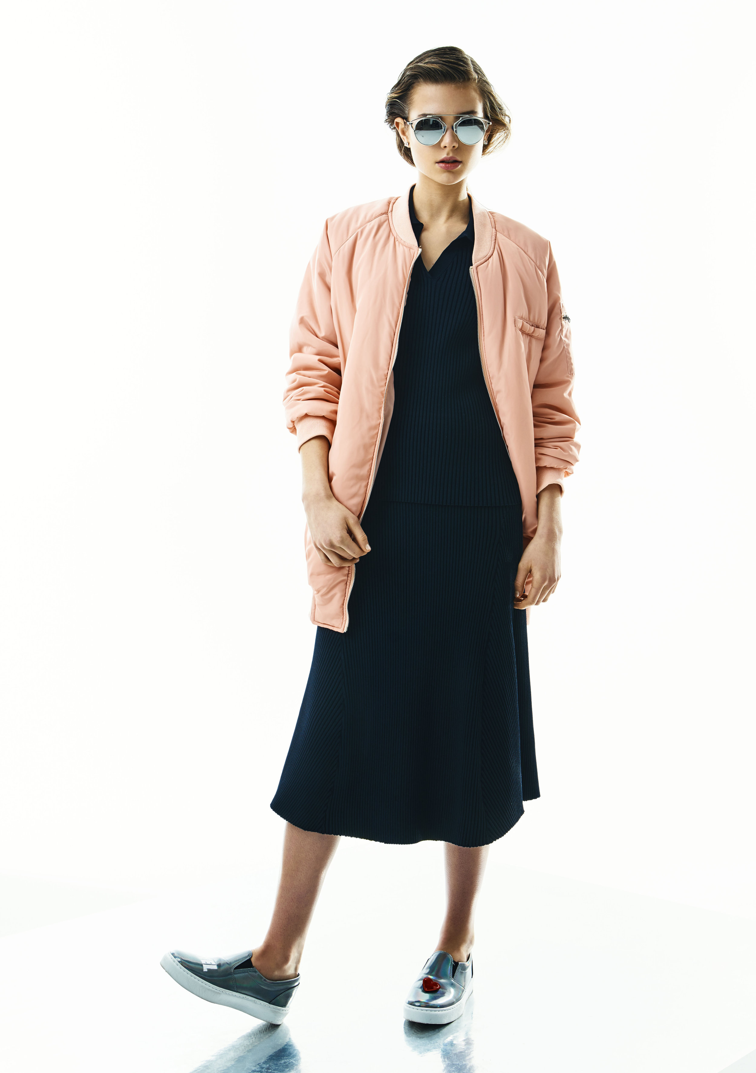 Shirt and skirt, Wood Wood; jacket,Missguided;sunglasses,Dior;shoes,Chiara Ferragni
