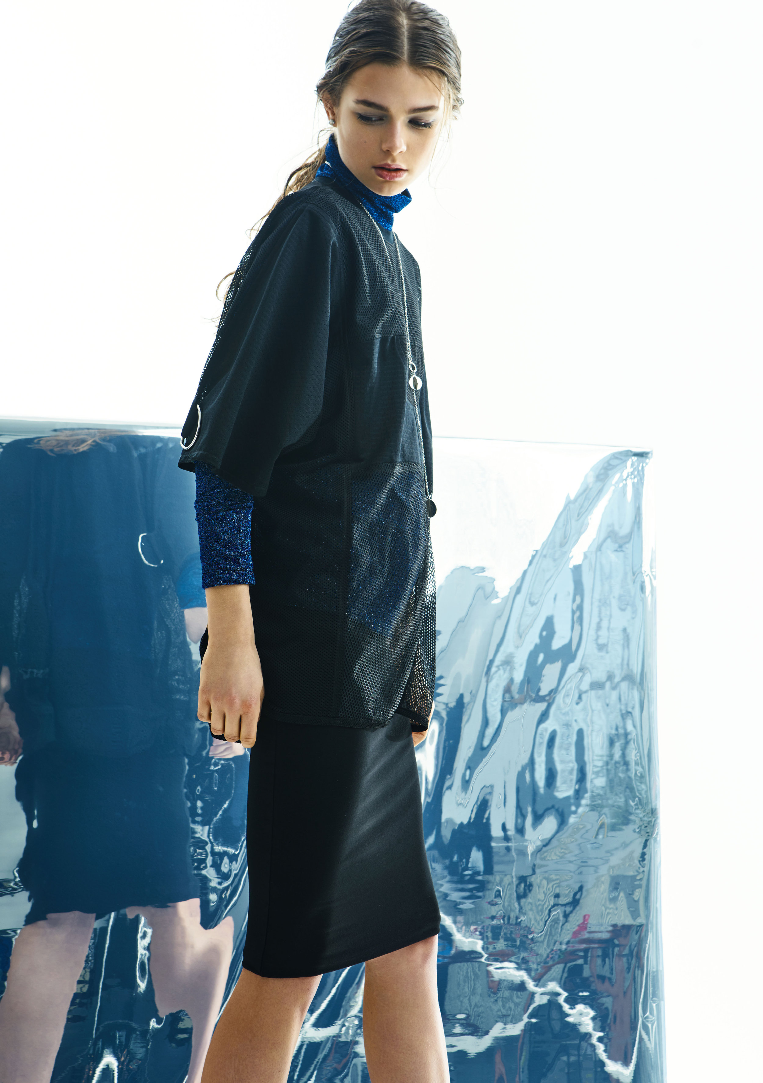 Shirt,Sample CM; polo neck,vintage; skirt,Norma Kamali;necklace,Yael