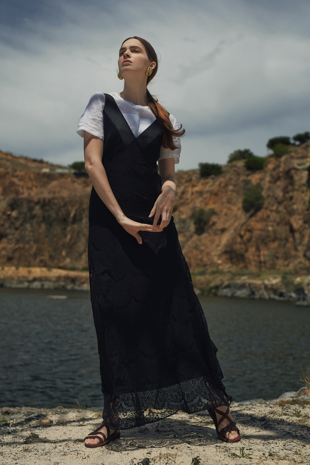 White linen tee,Amanda Laird Cherry; black lace dress, Cheryl Arthur; vintage gold earrings and leather sandals (worn throughout), stylist's own