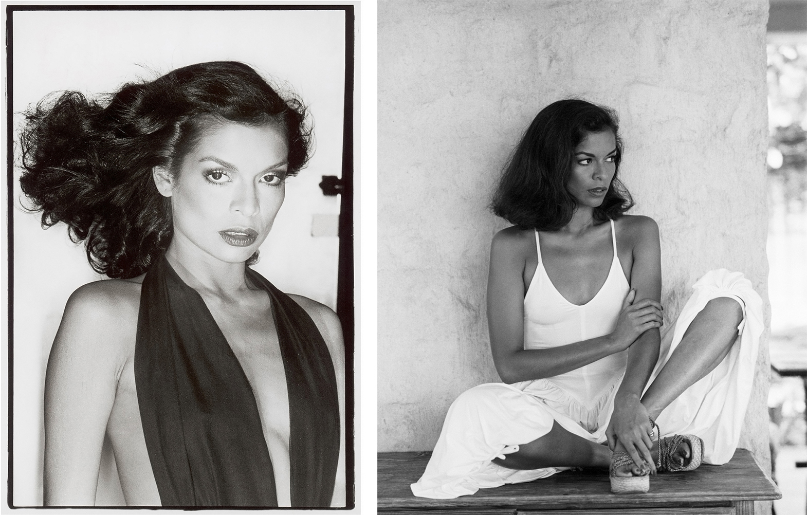 Bianca Jagger by Chris von Wangenheim, 1977;Bianca Jagger, Mustique,by Patrick Lichfield,1976