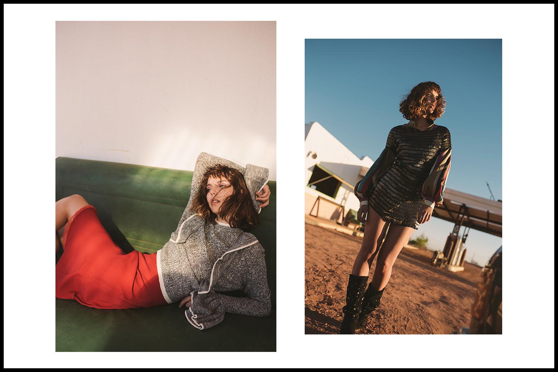 Left:dress, Noël of Me by Demet Karatas; sweater, H&M |Right: shirt, stylist's own; dress, Noël of Me by Demet Karatas; vintage boots (worn throughout),stylist's own