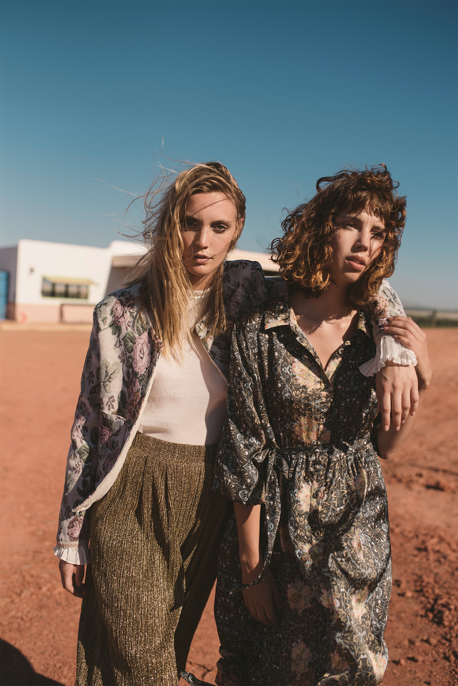 Emma (left)wears:shirt, H&M; jacket,Babette; trousers, stylist's own |Francesca (right) wears: dress, Amanda Laird Cherry at The Space