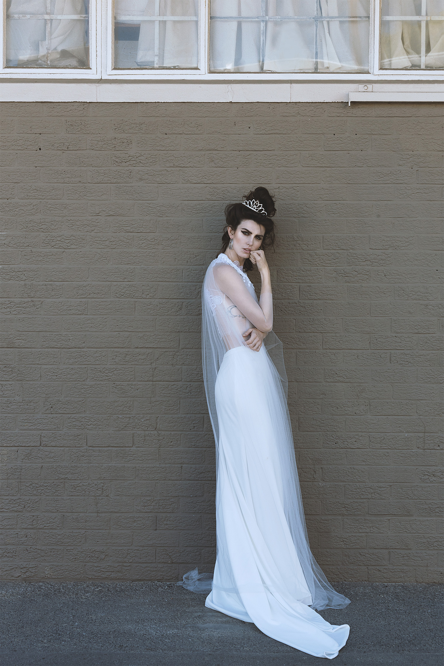 Ally bodysuit,Zara cape, and Mona skirt,Janita Toerien; earrings and crown, Lovisa