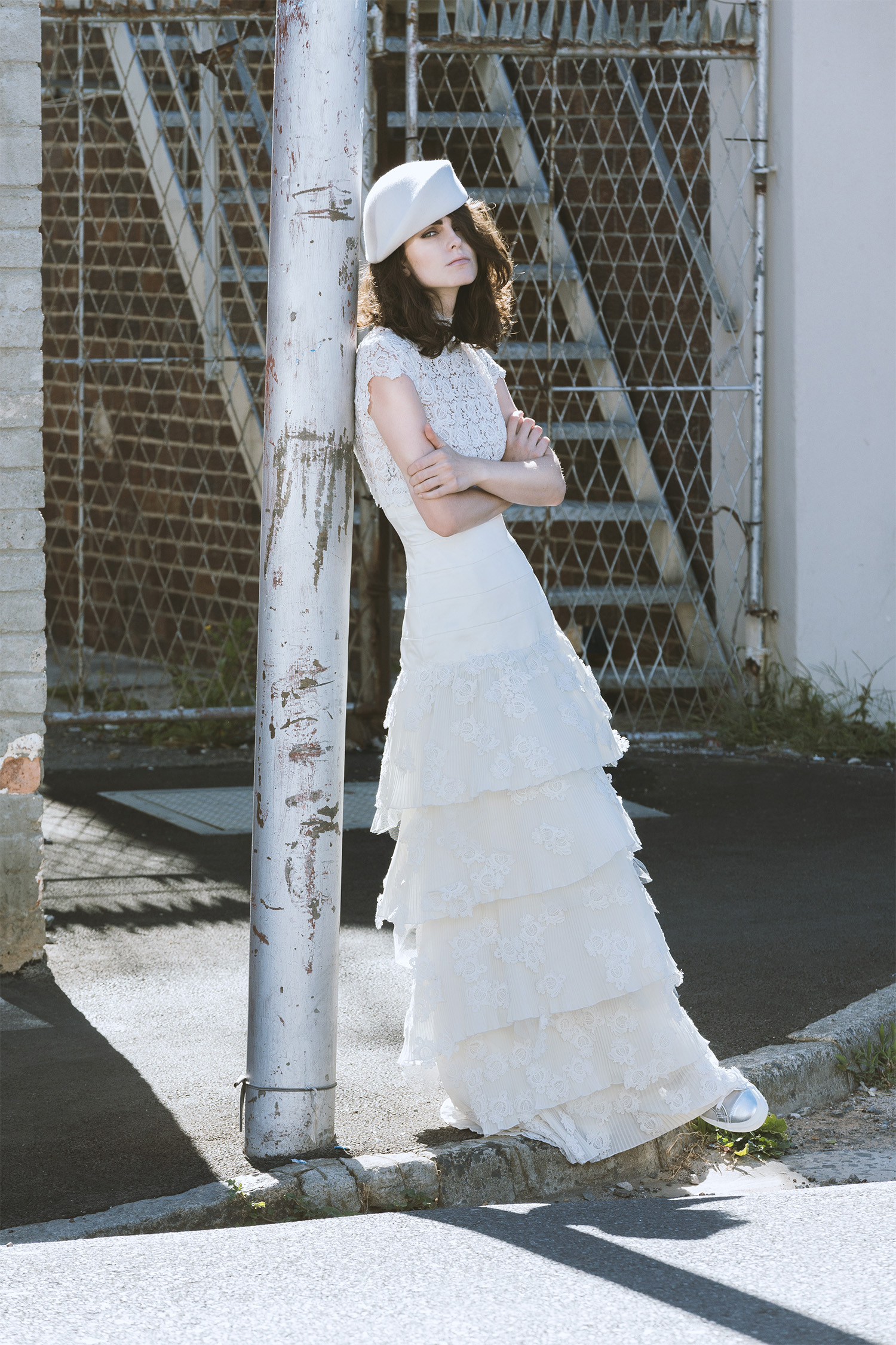 Victorian-inspired Guipure lace dress,Molteno Creations; beret, Crystal Birch; shoes, Superga