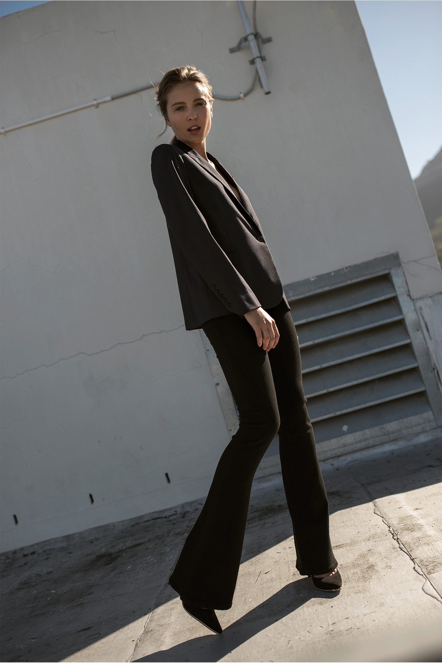 Jacket, Zadig & Voltaire; trousers, Citizens of Humanity; shoes, stylist's own