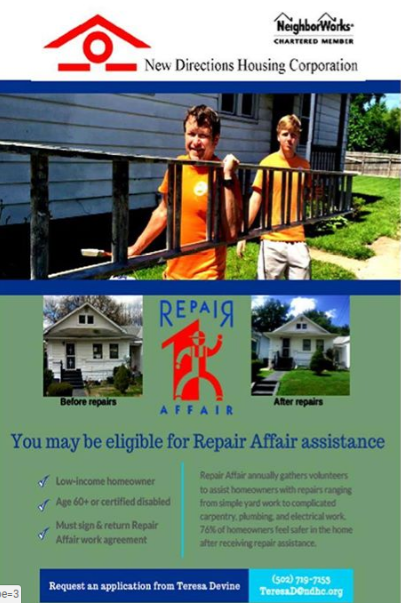 New Directions is dedicated to creating safe and habitable homes for low-income, elderly and disabled homeowners. One of the most visible ways we accomplish this mission is through our Repair Affair program. Repair Affair mobilizes community-wide resources and volunteer support to assist these vulnerable homeowners with essential home repairs. Call to see if you qualify.