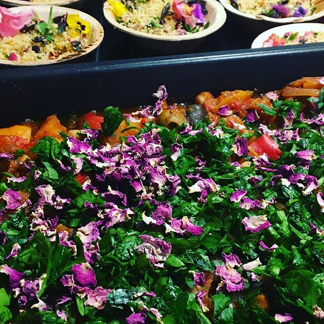 Vegan fare for a 60th birthday party - Tagine with Celebration Couscous, edible flowers and herbs... #vegan #vegancatering #vegetarian #catering #privatechef #plantbased