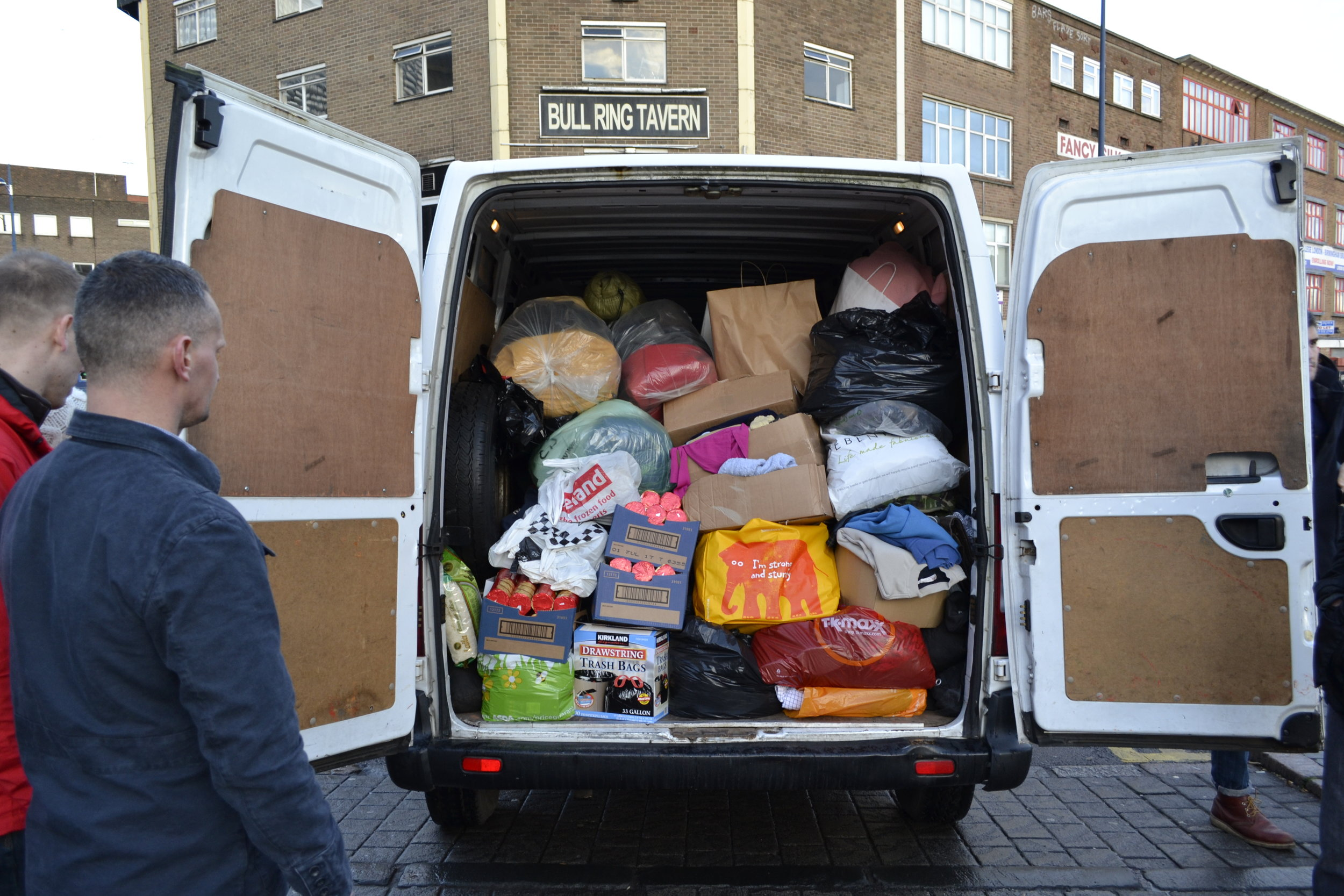 a fully laden van filled to the brim with items donated to the homeless from across the warwickshire province