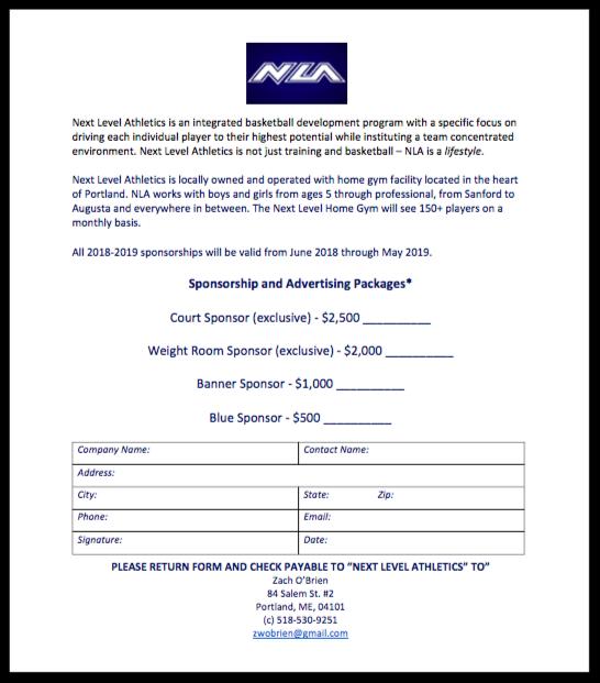 NLA Sponsorship Form