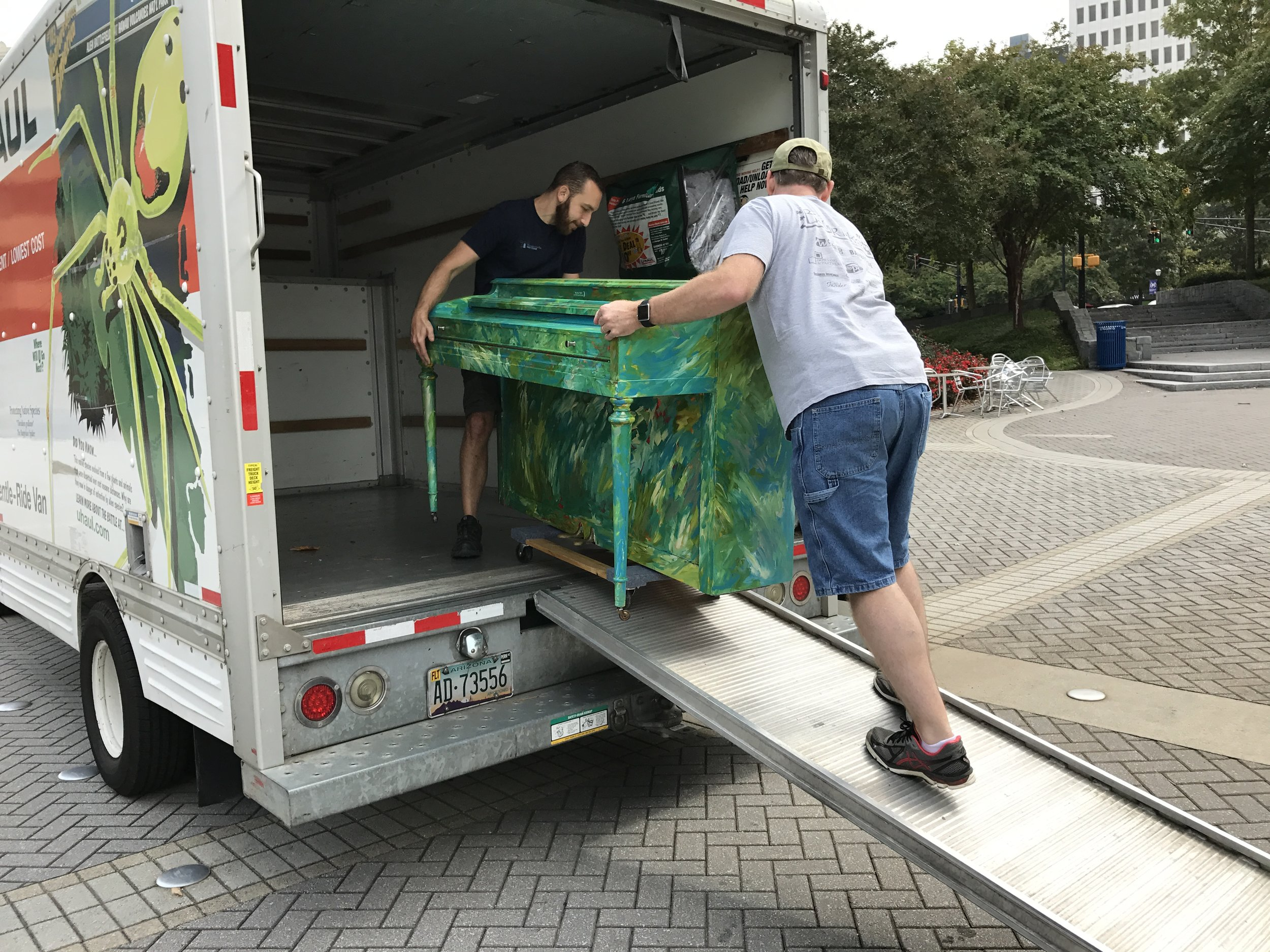 "Alex and Jason moving ""Liam"" to the woodruff arts center"