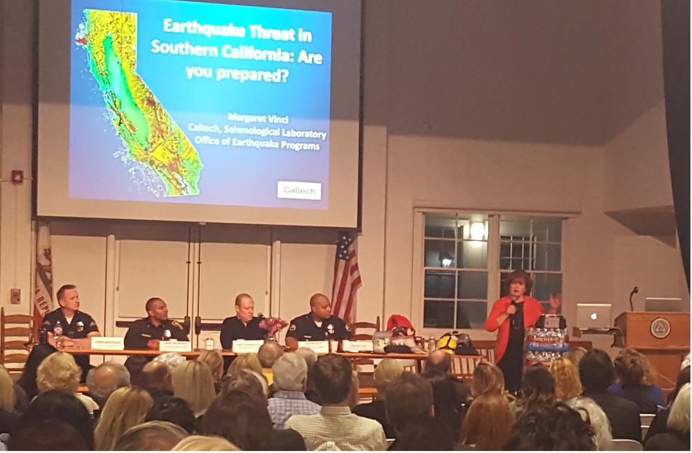 Margaret Vinci of Cal Tech's Seismological Laboratory speaks at Wednesday night's BAA Emergency Preparedness Meeting.