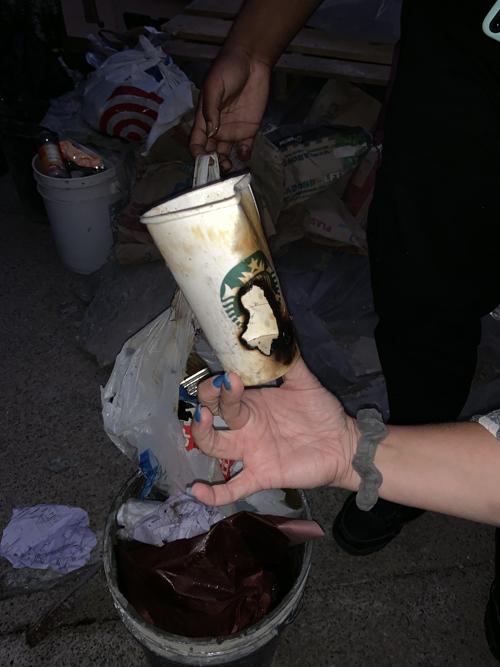 755 Sarbonne trash fire Starbucks cup IMG_2878 500.jpg