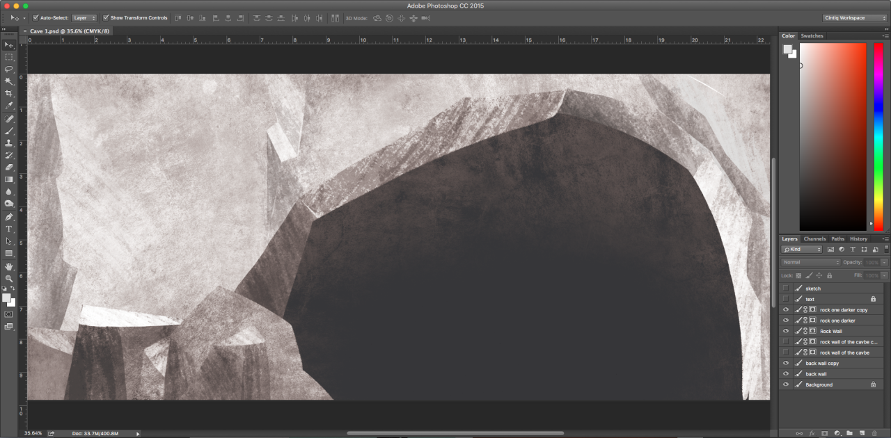 Now THAT's a cave drawing!    Get it?  Working with texture and brushes to make some stone tonight for this charming little cave dwelling for an exciting new project!