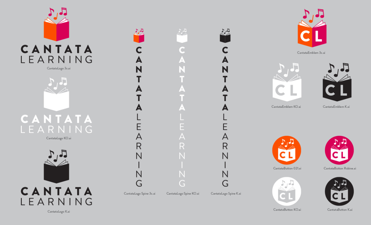 I love a good logo sheet.    I haven't posted much about this yet, but I'm excited to. One of my latest clients and pals is Learning Focus, LLC and their new children's educational picture book imprint, Cantata Learning. I'm one lucky dog, joining the team at the inception of the imprint. Not only do I get to art direct and design the books, I was charged with the task of creating the publisher's branding.  Here's a peek at the logo sheet. More fun stuff from Cantata soon! We've got a lot of great illustrators working on the first season…and even more on deck for Season 2 already! Can't wait to show you some of these covers!