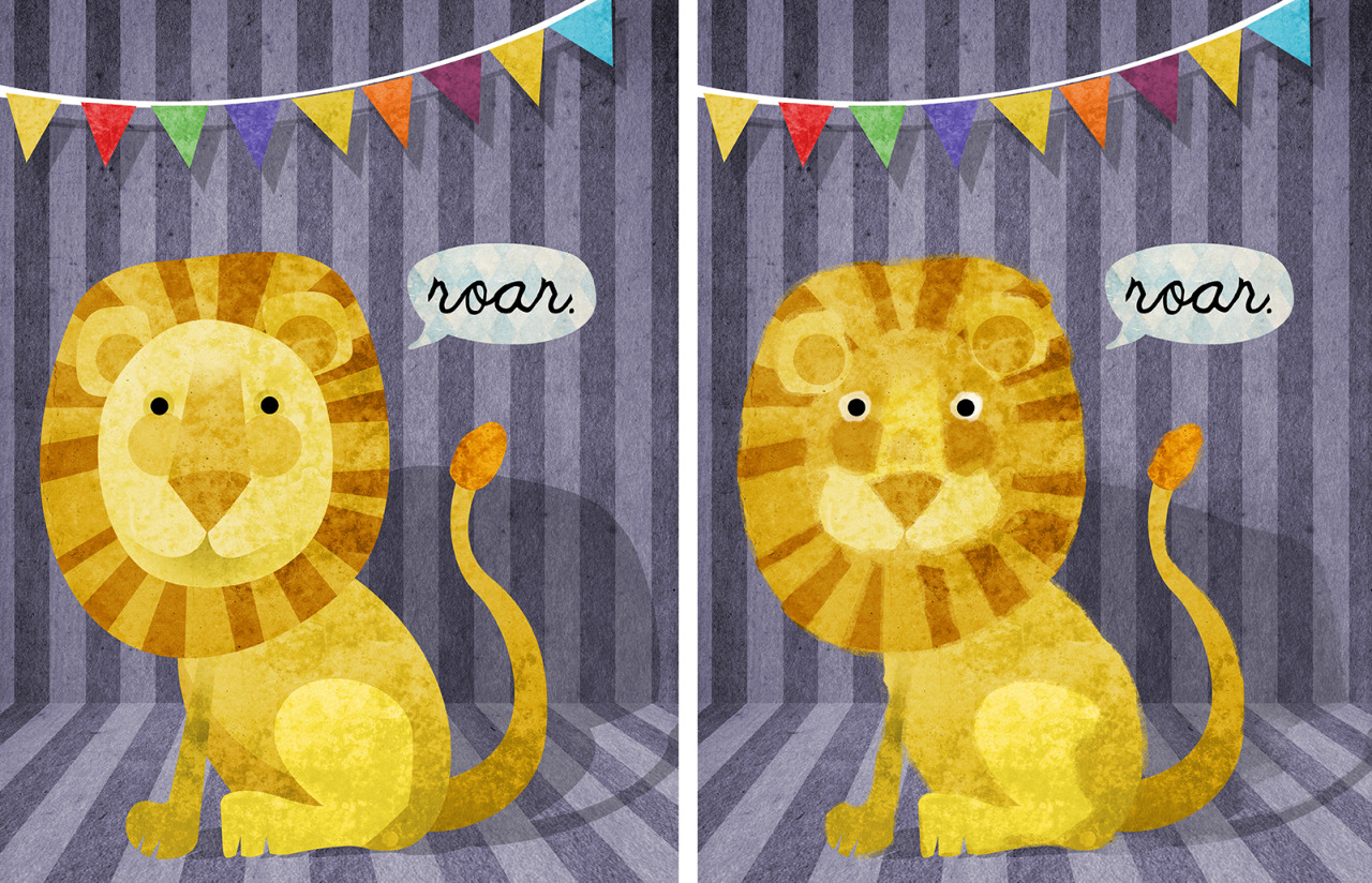 Lion gets a makeover.    A very wise (and impeccably dressed) art agent, Kirsten Hall, gave me some advice yesterday. I took it and am loving the results. Still a lot more exploration to go. But the lion on the right (with his more expressive eyes and softer, more artful edges) is much more in the space and category I'm after.   Keep an eye out. Miss BirdieBird's getting a makeover too. Of course, she doesn't think she needs it. ssshhhh!