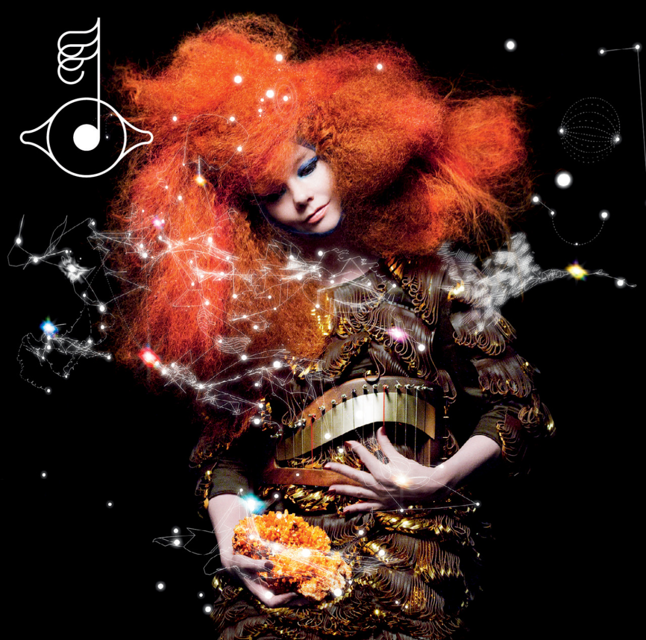 "I have a crush on an album cover.    Say what you will about Bjork and her airport antics and red carpet … moments. Take or leave her insanely ""specific"" music. But one thing that can't be argued is how beautiful and original her album covers are. The cover of  Biophilia  spins me around and flips me upside down every time I see it. The soft dreamy hair and fashion against the razor sharp celestial art motif is mesmerizing.   Also, her belt is a harp. Come on! That's awesome!"