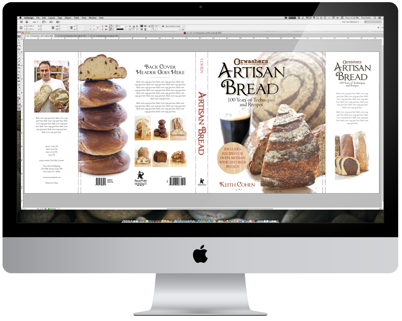 On my screen.    I'm in the late stages of putting together Orwashers Artisan Bread for Race Point Publishing and The Book Shop, Ltd. Be on the lookout for some interior pages over the weekend. Really excited about this one!