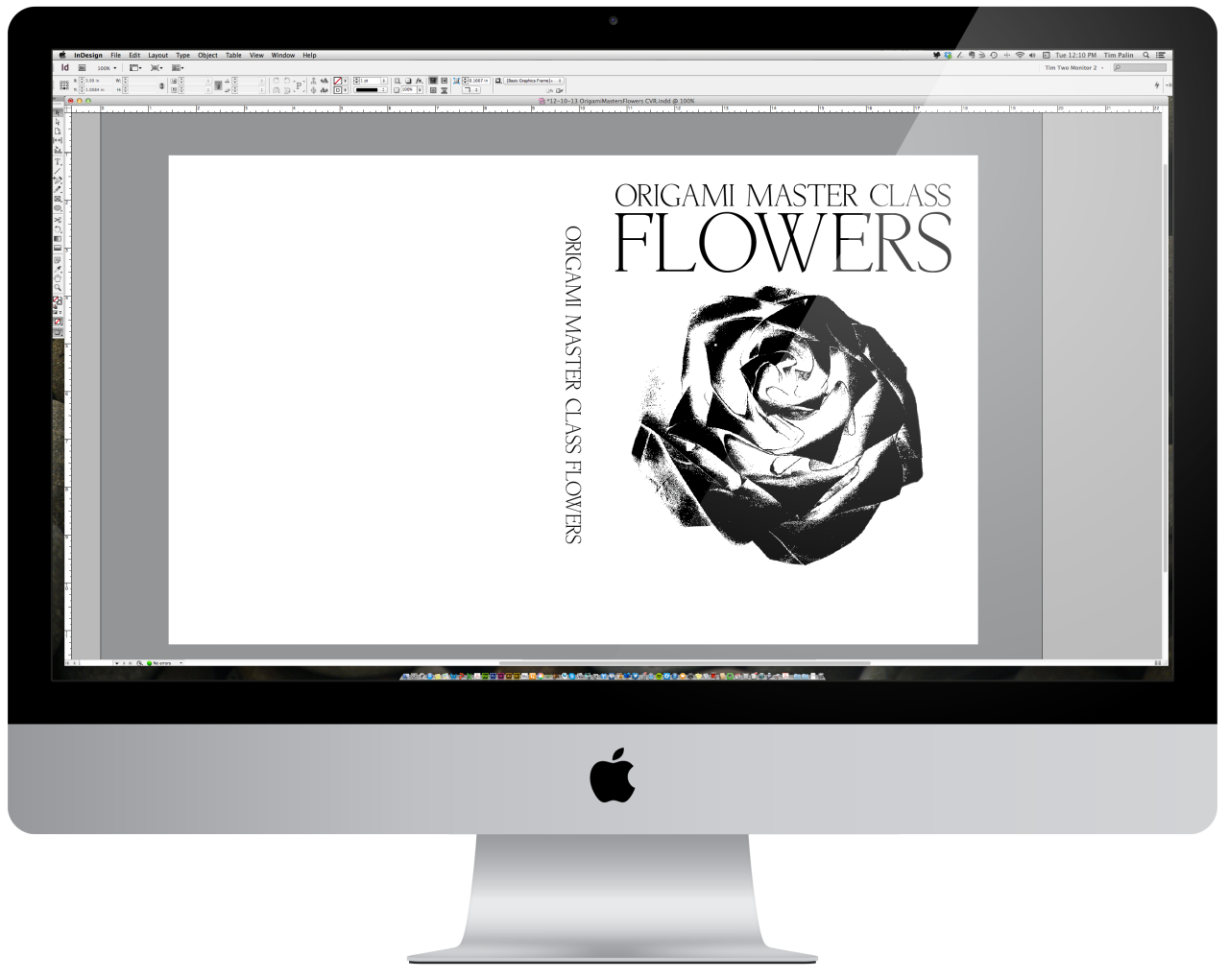 On my screen.    This is sometimes my favorite part of a book project. I love special effects and the problem solving that goes along with it. Additional to the gloss varnish on our amazing origami rose for the cover of Origami Master Class: Flowers for Race Point, the client is looking for a tactile experience. The rose is so inviting, why not feel the texture and shape of the petals with some deep embossing, right? I'm on the case! Here's a view of the varnish plate art in production.