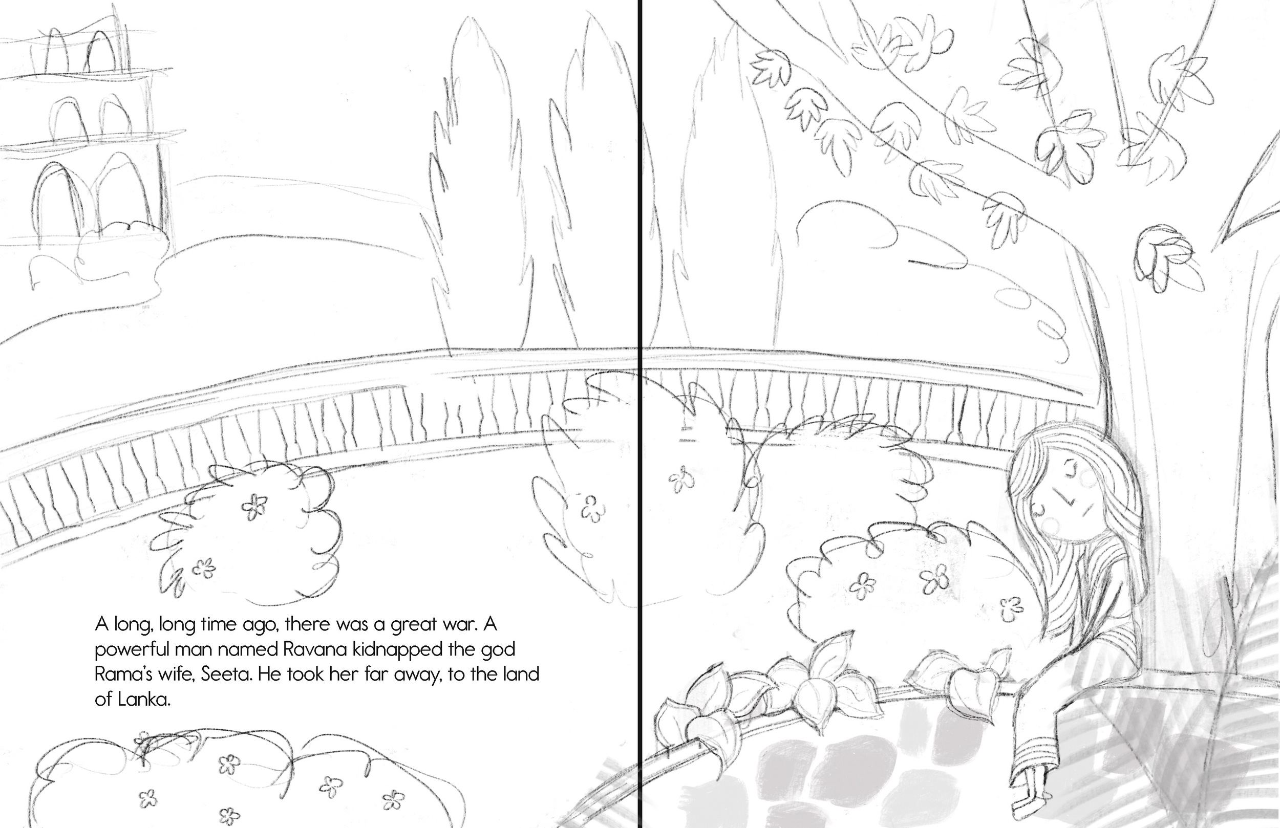 Sketch #2. The Client asked to take Seeta to place a little less secluded.