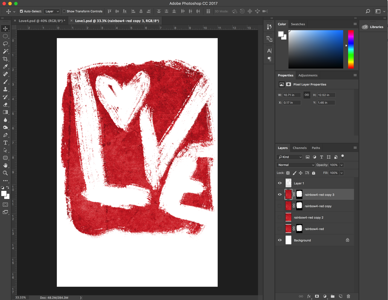 "Version 1 of the ""LOVE"" art treatment."